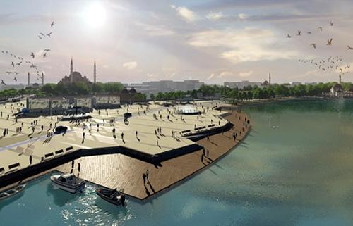Üsküdar Meydan Projesi'nde semtin dokusuna ve tarihine uygun ticaret alanları olarak.