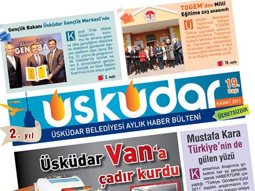 Üsküdar Belediyesi düzenli olarak her yayınladığı ''Üsküdar Belediyesi Aylık Haber Bülteni'' Kasım 2011 sayısı yayınlandı.