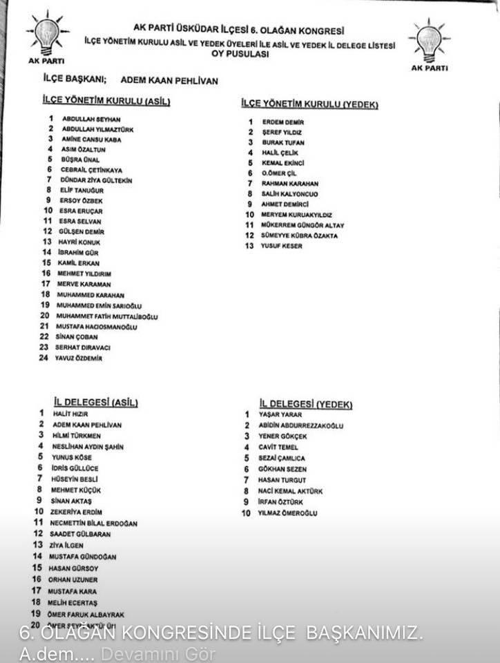 AK Parti Üsküdar 6. Olağan İlçe Kongresi Yönetim Kurulu Listesi