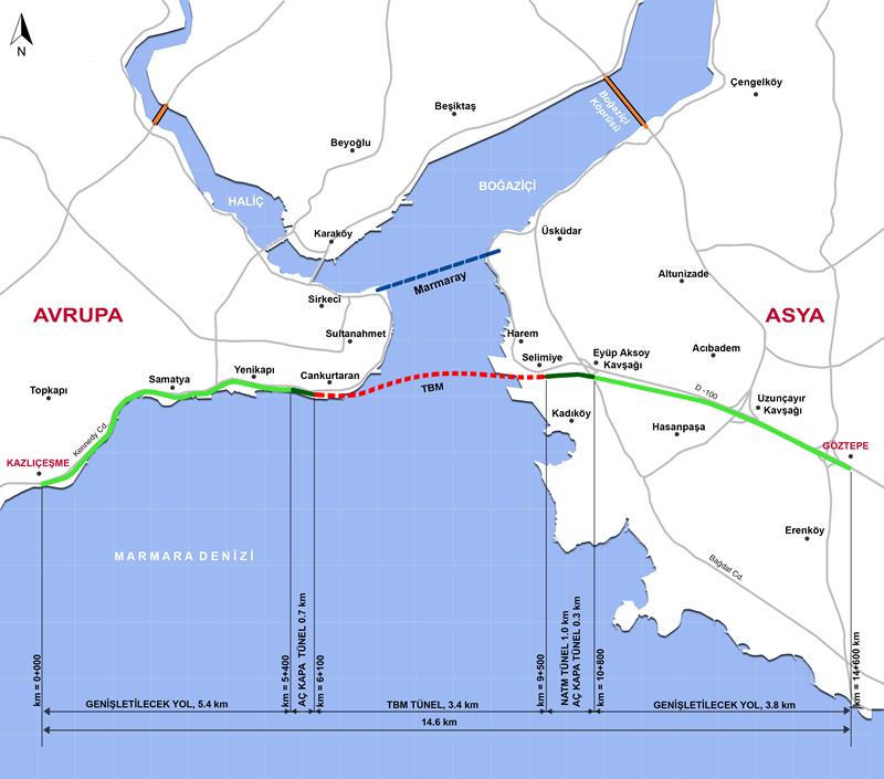 İstanbul Boğazı'nın altından karayolu bağlantısını sağlayacak İstanbul Boğazı Karayolu Tüp Geçişi (Avrasya Tüneli)'nin kazı çalışmaları başladı.