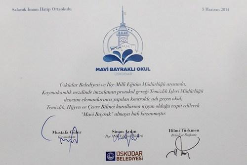 Salacak İmam Hatip Ortaokulu ''Mavi Bayrak'' ödülünü aldı