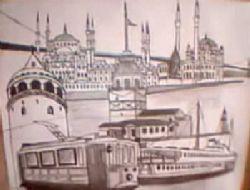 Kız Kulesi ve İstanbul Kara Kalem Çalışması