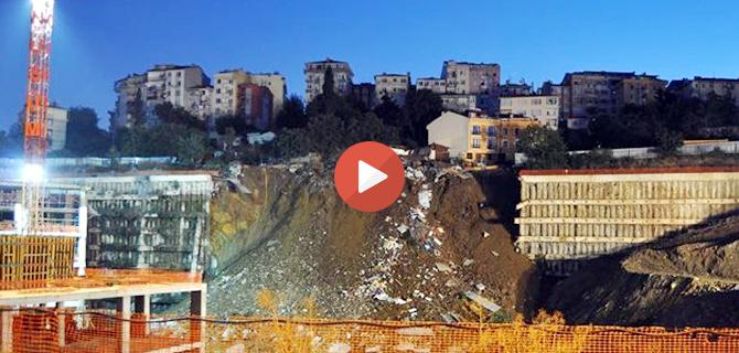 Üsküdar Belediyesi yeni hizmet binasının istinat duvarı çöktü... Tıkla İzle