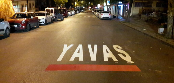 Cadde ve  sokaklara yatay çizgi çalışması